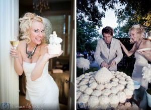 Bride Groom Cutting Cake Wedding