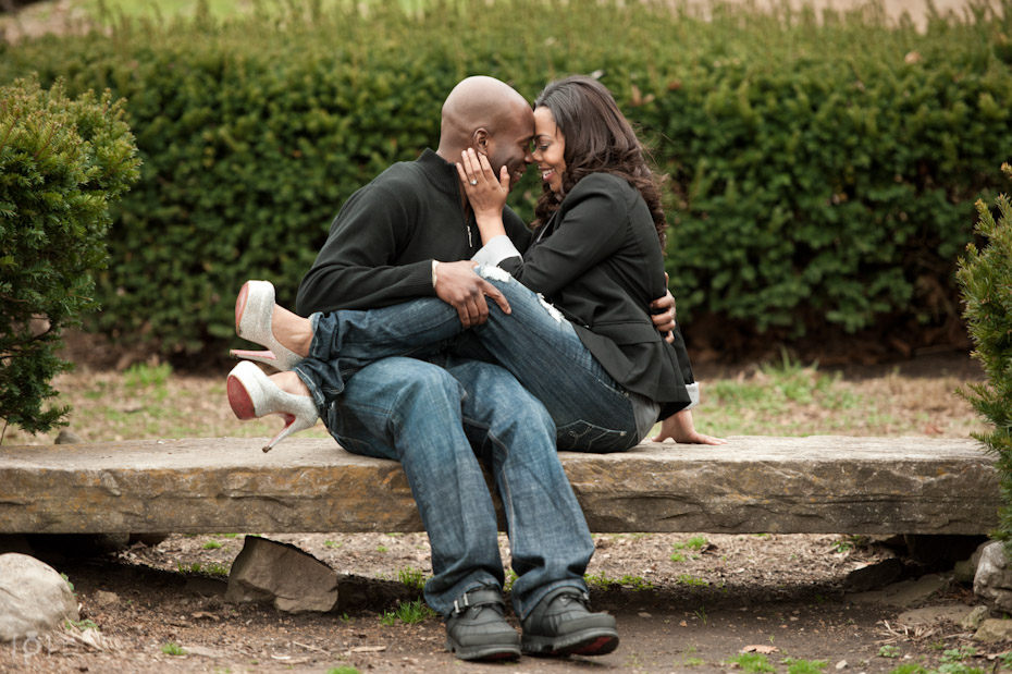 Engaged Couple on Bench