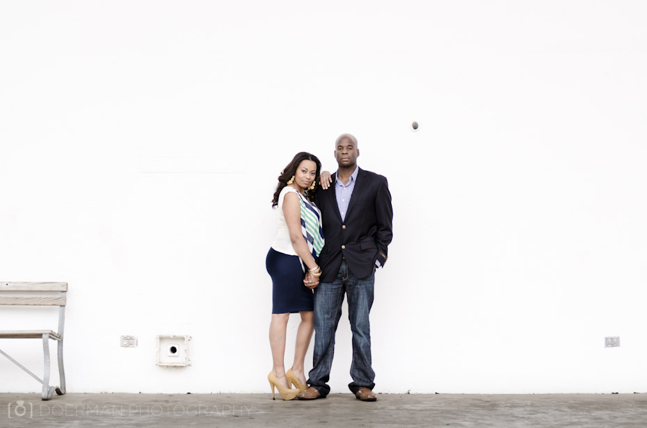 White Wall Engagement Photography