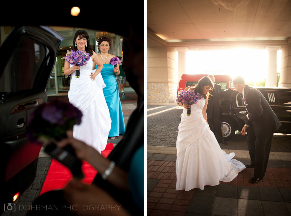 bride entering limo