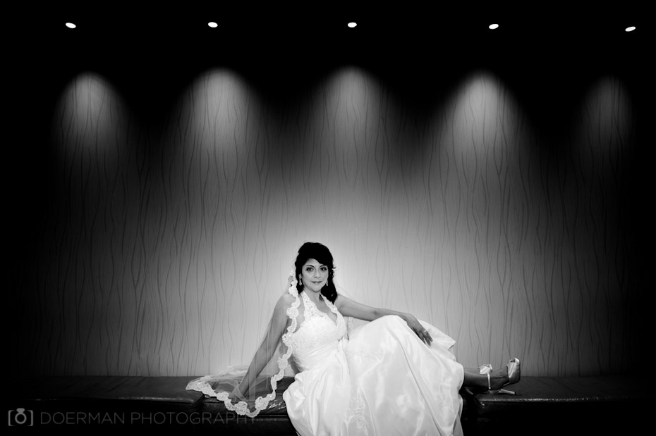bride on bench lighting