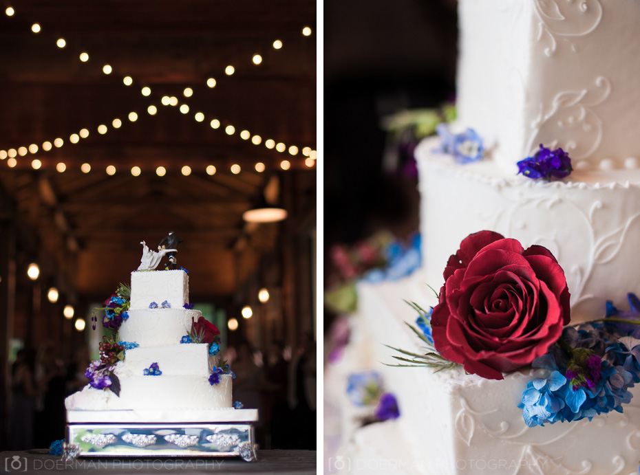 Wedding Cake with lights in background