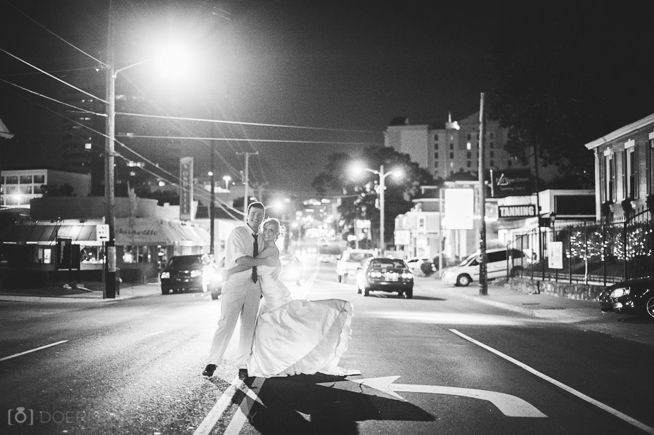 Bride and Groom in middle of the street