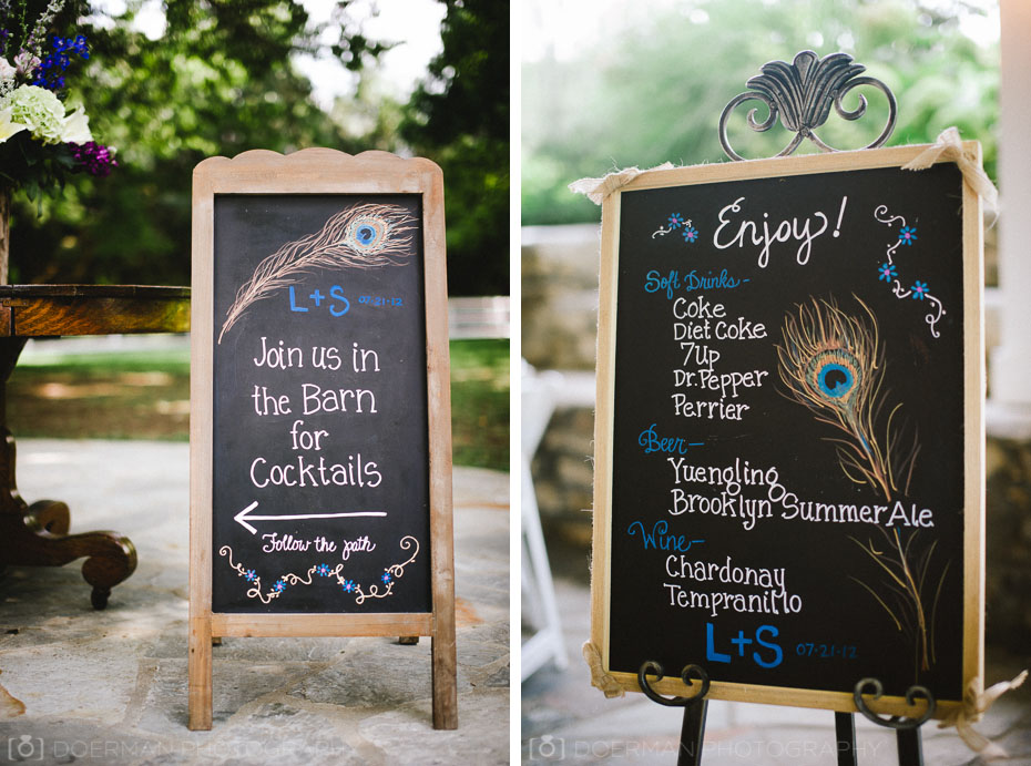 Cocktail signs at Wedding