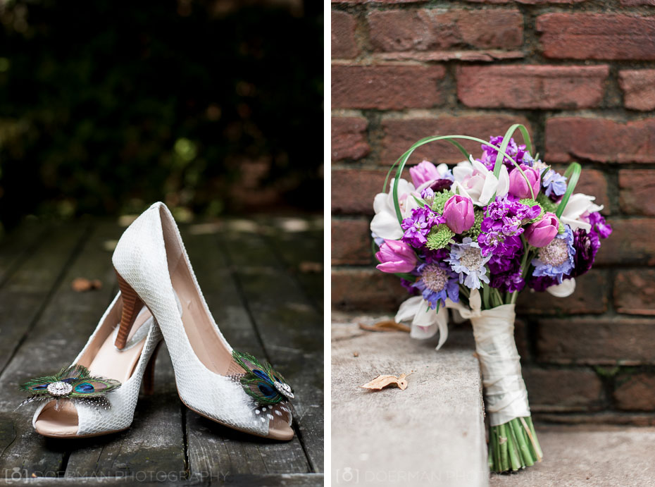 Wedding Shoes and Bouquet at Benton Chapel