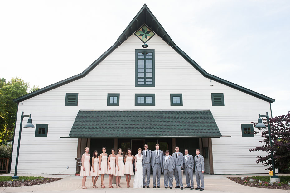Wedding party in front of the Loveless Barn
