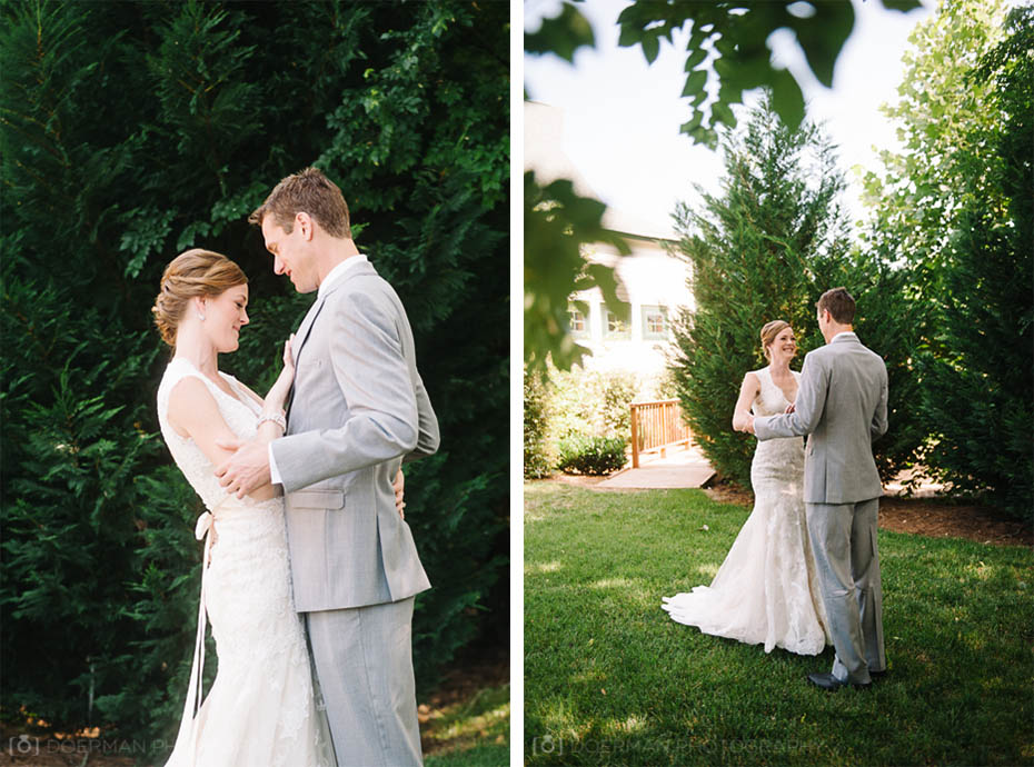 Bride and groom's first look at Loveless Barn