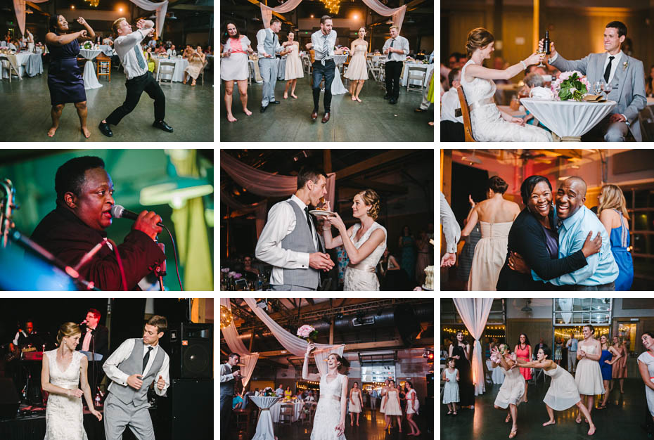 Events at a wedding reception. Dancing, cutting cake, bouquet toss, and toasts.