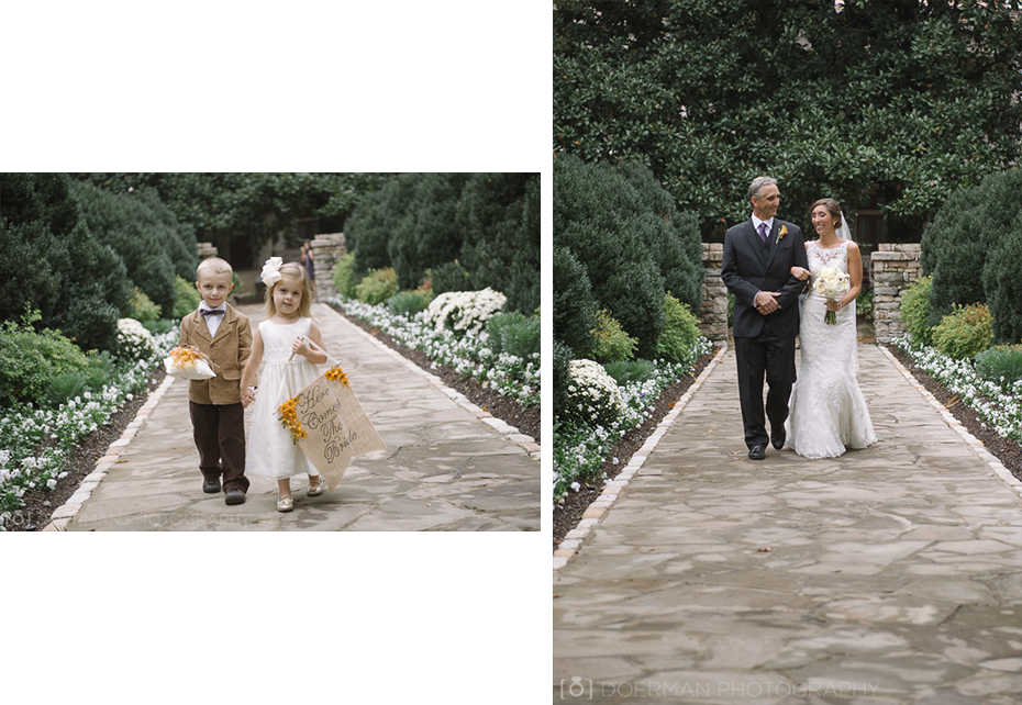 bride father ring bearer flower girl walking down the aisle