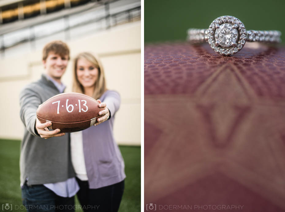engagement ring on football