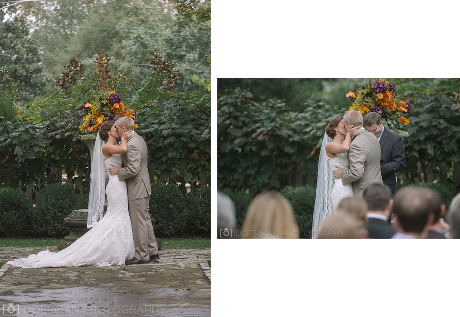 wedding ceremony kiss at belle meade plantation