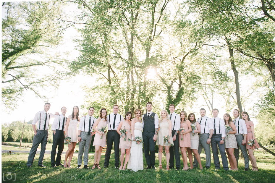 bridal party backlit