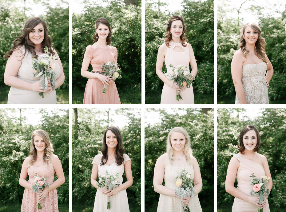 bridesmaids portrait collage