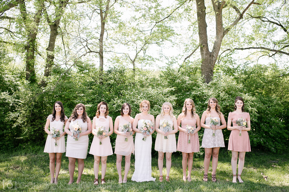 bridesmaids with blush dresses