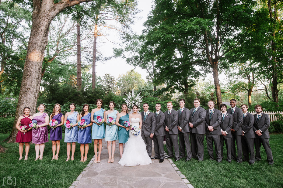 bridal party at belle meade plantation garden