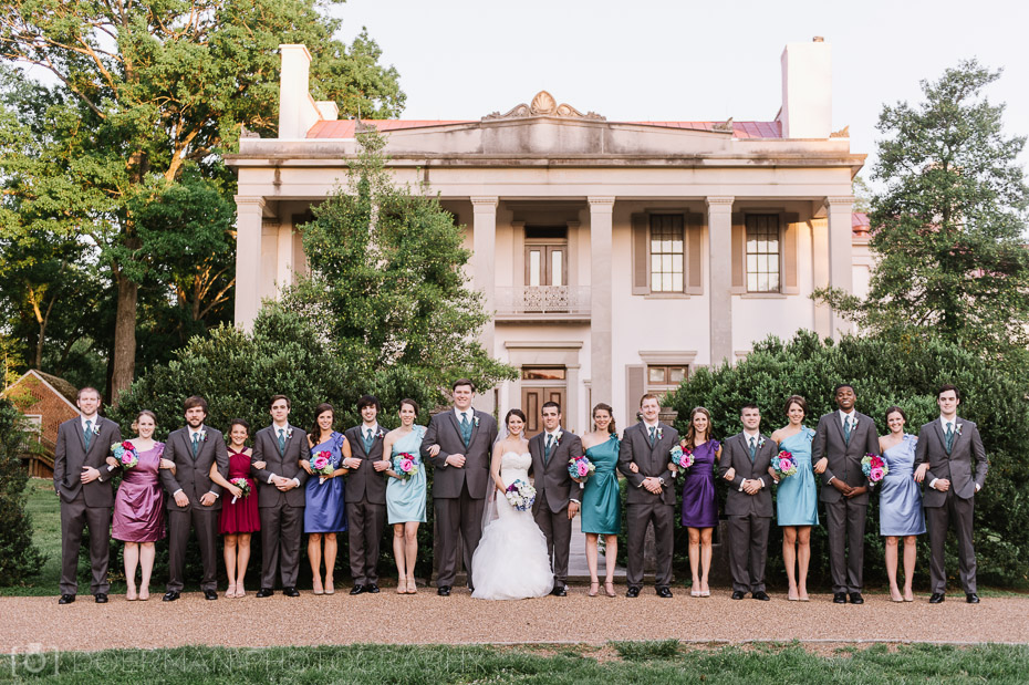 bridal party in front of belle meade mansion