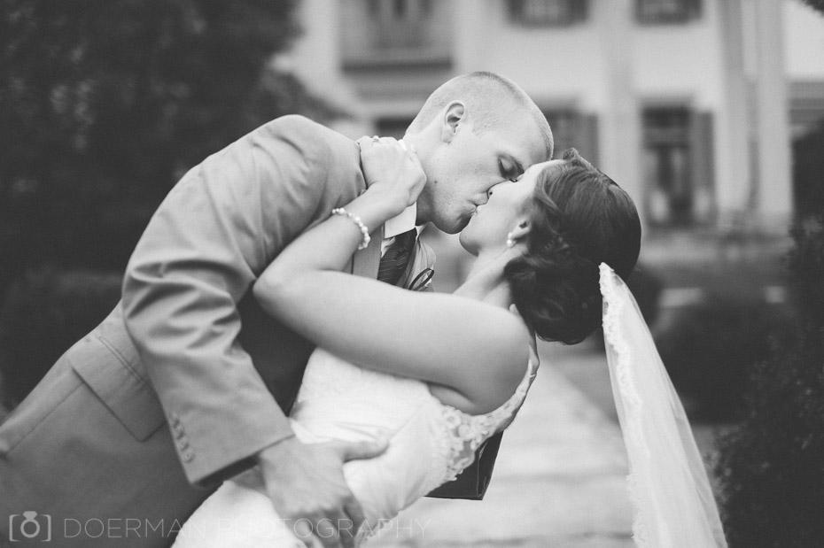 black and white wedding dip photo